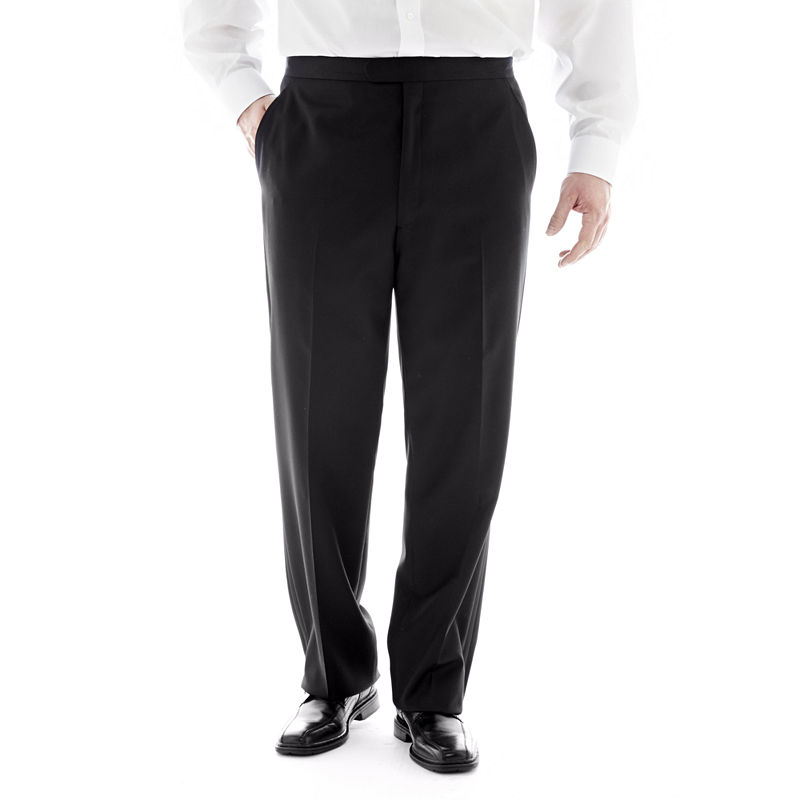 1920s Mens Evening Wear Step By Step Big and Tall  Stafford Flat-Front Tuxedo Pants-Big  Tall Mens Size 42x34 Black $54.00 AT vintagedancer.com