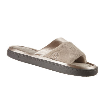 Isotoner® Microterry Satin-Trim Slide Slippers