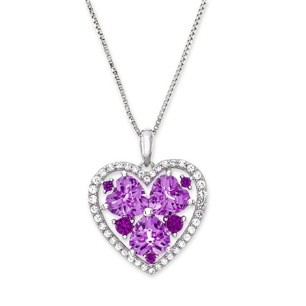 Lab-Created Ruby and Pink and White Sapphire Heart Pendant Necklace