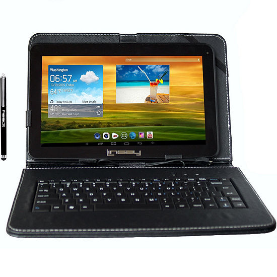 "LINSAY 10.1"" Quad-Core 2GB RAM 16GB Android 9.0 Pie Tablet with Black Keyboard Case and Pen Stylus"