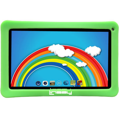 """LINSAY® New 10.1"""" Kids Funny Tab Quad Core 1024x600 HD 16GB Android 6.0 with Kids Defender Case"""