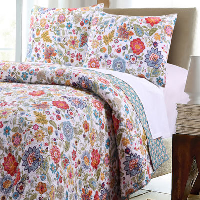 Greenland Home Fashions Astoria Reversible Floral Quilt Set