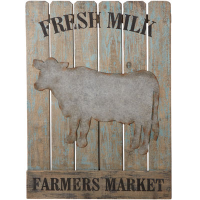 Farmers Market Fresh Milk Slat Wood Art