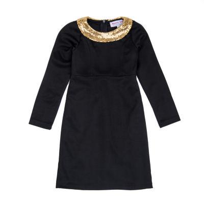 Mayah Kay Fashion Sequin-Collar Sheath Dress