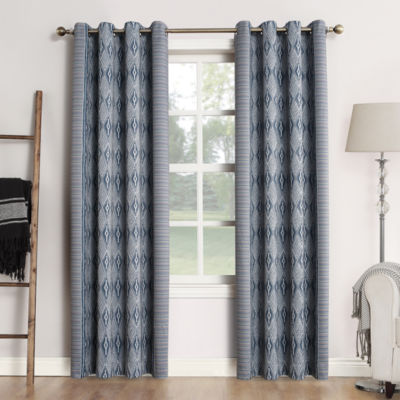 Sun Zero Sun Zero Tahoe Extreme Blackout Global Print Grommet Curtain Panel Blackout Grommet-Top Curtain Panel