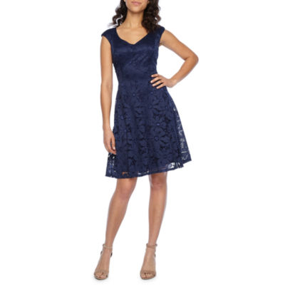 Liz Claiborne Cap Sleeve Fit & Flare Dress