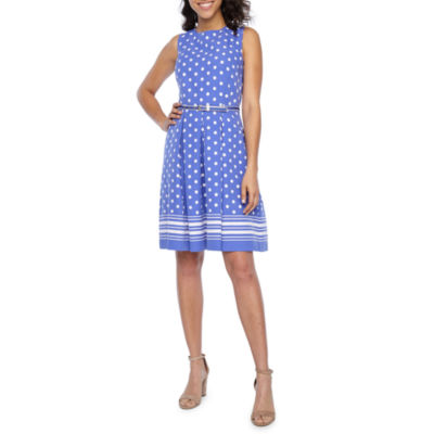 Liz Claiborne Sleeveless Polka Dot Fit & Flare Dress
