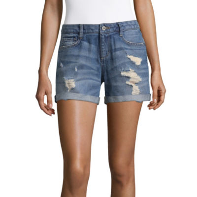 "Arizona 4 1/2"" Destructed Roll Cuff Midi Shorts-Juniors"