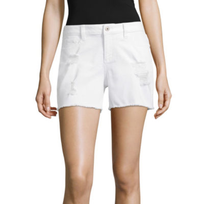 "Arizona 4 1/2"" Raw Edge Midi Shorts-Juniors"