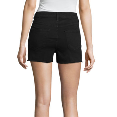 "Arizona 2 1/2"" High Rise Raw Edge Denim Shorts-Juniors"