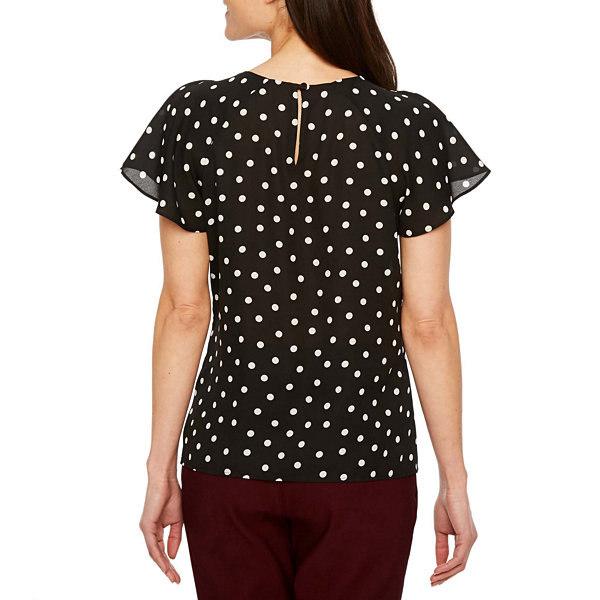 Worthington Short Sleeve Round Neck Woven Floral Blouse-Petites