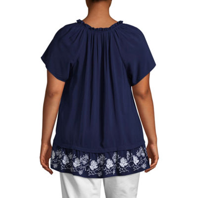 St. John's Bay® Short Sleeve Split Neck Peplum Blouse - Plus