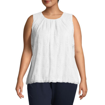 Liz Claiborne Pleat Neck Bubble Hem Top- Plus
