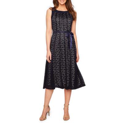 Perceptions Sleeveless Lace Fit & Flare Dress