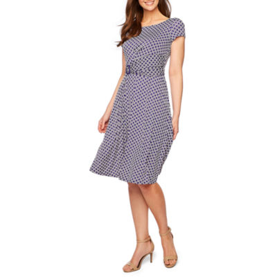 Perceptions Short Sleeve Puff Print Fit & Flare Dress