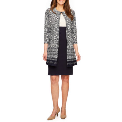 Danny & Nicole 3/4 Sleeve Jacket Mid Length Dress