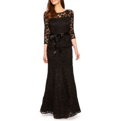 Be by Chetta B 3/4 Sleeve Peplum Lace Gown