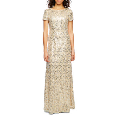 Decoded Short Sleeve Beaded Evening Gown