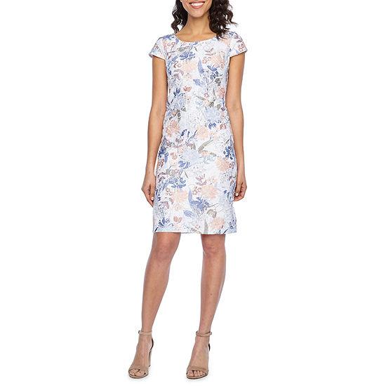 Liz Claiborne Short Sleeve Floral Lace Sheath Dress