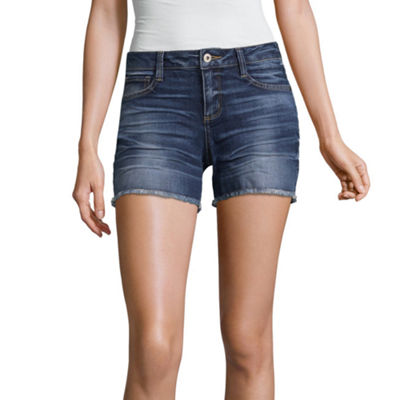 "Arizona 4 1/2"" Raw Edge Midi Shorts-Juniors"