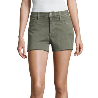 "Arizona 2 1/2"" High Rise Raw Edge Denim Shorts-Juniors"