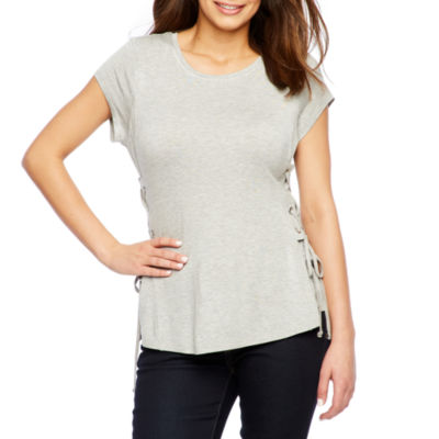 Bold Elements Short Sleeve Side Lace Up Top