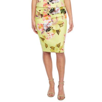 Bold Elements Floral High-Waist Pencil Skirt