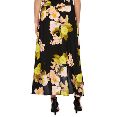 Bold Elements Floral Wrap Skirt with Side Tie