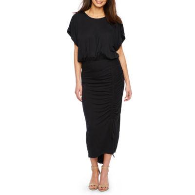 Bold Elements Short Sleeve High Low Blouson Dress