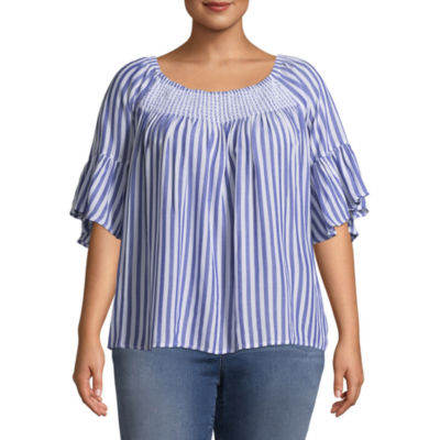 a.n.a Elbow Sleeve Scoop Neck Woven Blouse - Plus
