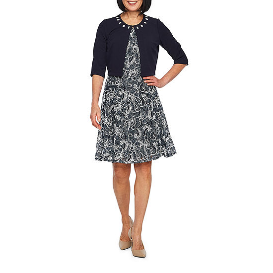 Perceptions 3 4 Sleeve Lace Jacket Dress