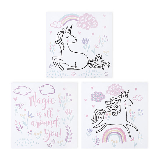 Trend Lab Magical Unicorn Canvas 3-Pc. Wall Art 3-pc. Canvas Art