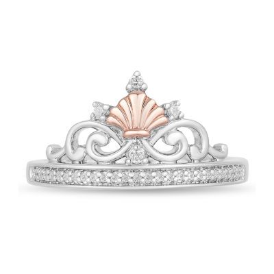 Enchanted Disney Fine Jewelry Womens 1/10 CT. T.W. Genuine Diamond 14K Rose Gold Over Silver Crown Disney Princess Cocktail Ring