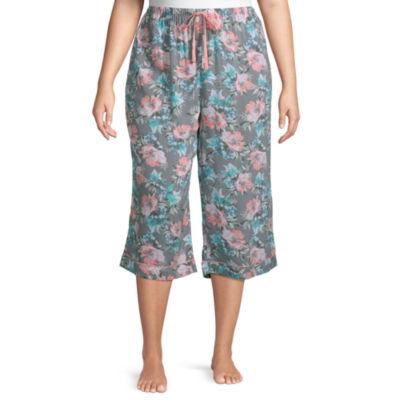 Ambrielle Capri Womens-Plus Poplin Pajama Pants