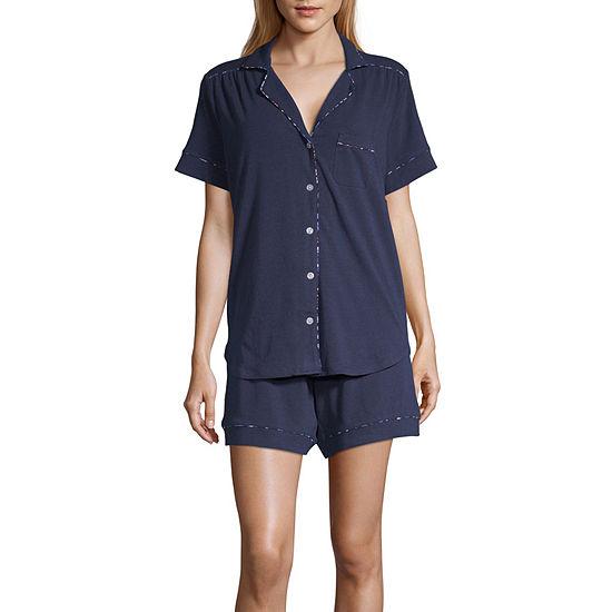 Liz Claiborne Womens Short Sleeve Shorts Pajama Set 2-pc.