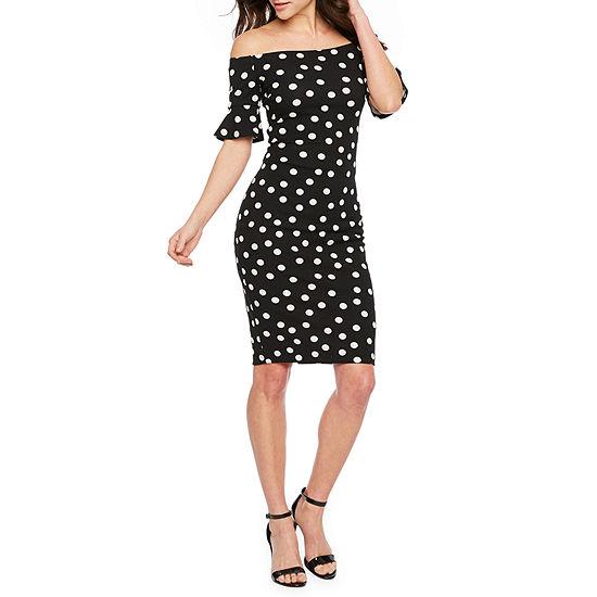 Premier Amour Off The Shoulder Polka Dots Sheath Dress
