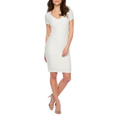 Premier Amour Short Sleeve Jacquard Sheath Dress