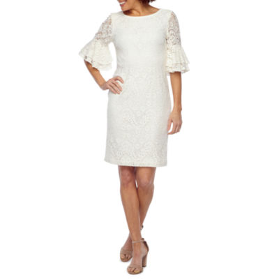Ronni Nicole Elbow Tiered Bell Sleeve Lace Sheath Dress