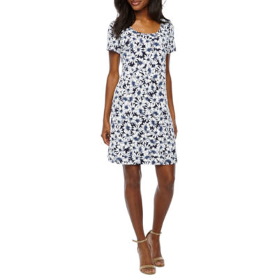 Ronni Nicole Short Sleeve Floral Puff Print Swing Dress