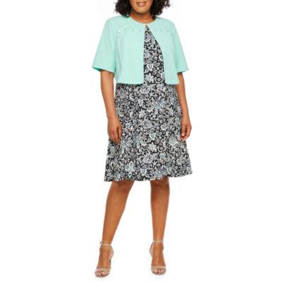 Perceptions Short Sleeve Jacket Dress-Plus