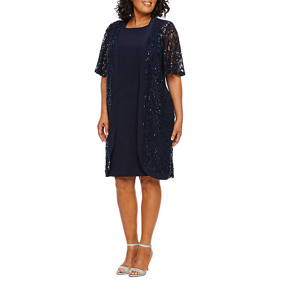 Scarlett Short Sleeve Lace Jacket Dress-Plus