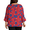 Liz Claiborne 3/4 Pleated Ruffle Sleeve Blouse - Tall