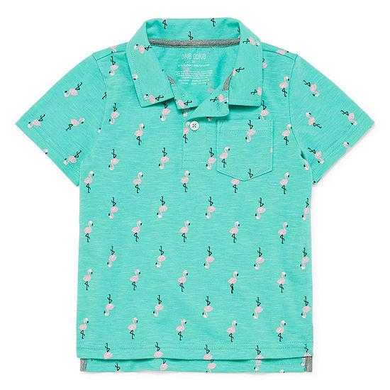 Okie Dokie Boys Spread Collar Short Sleeve Polo Shirt - Toddler