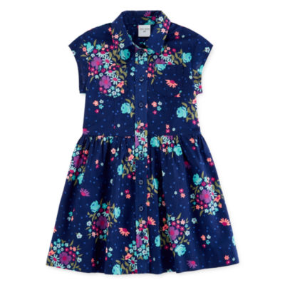 Okie Dokie Short Sleeve Shirt Dress - Toddler Girls