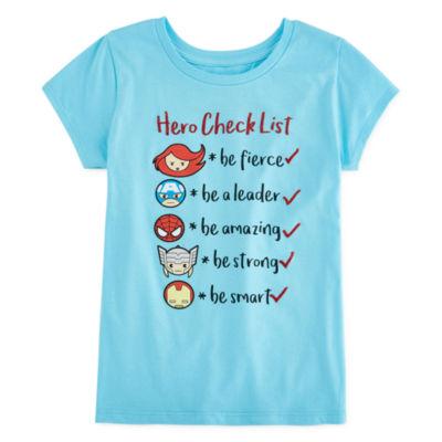 Girls Round Neck Short Sleeve Avengers Graphic T-Shirt Preschool / Big Kid