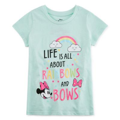 Disney Girls Round Neck Short Sleeve Minnie Mouse Graphic T-Shirt Preschool / Big Kid