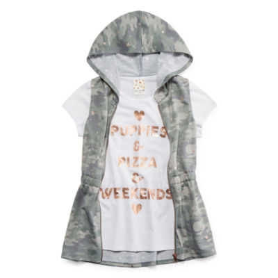 Self Esteem Girls Round Neck Short Sleeve Layered Top - Big Kid