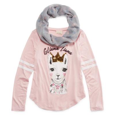 Self Esteem Girls Round Neck Long Sleeve Graphic T-Shirt-Big Kid