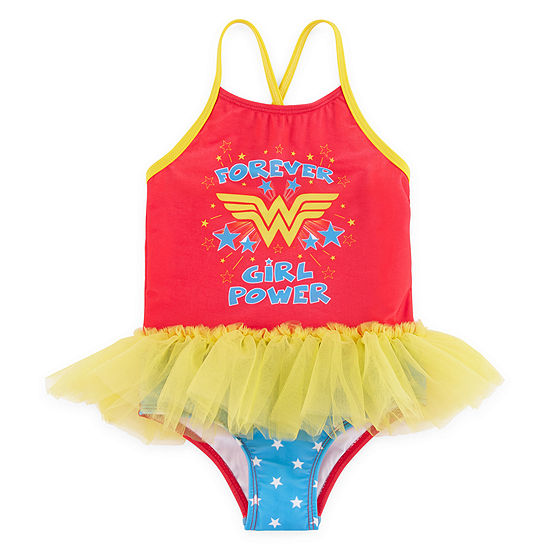 Warner Bros Wonder Woman Star One Piece Swimsuit Toddler Girls