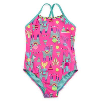 Breaking Waves Llama Rama One Piece Swimsuit Toddler and Preschool Girls